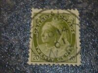 CANADA POSTAGE STAMP SG165 20C OLIVE GREEN VERY FINE USED