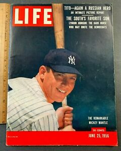 """1956 JUNE 25 LIFE MAGAZINE """"THE REMARKABLE MICKEY MANTLE"""" D GREAT CONDITION"""