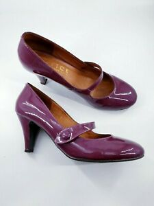 Office size 6 (39) purple patent leather Mary Jane strap cone heel court shoes