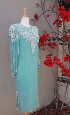 Vintage 1970s Silk Aqua Blue Beaded Dress Cocktail Shift Lillie Rubin Gatsby