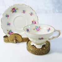 Edelstein Bavaria Germany Footed DEMITASSE COFFEE TEA CUP & SAUCER Floral Demi