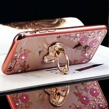 Floral Bling Rhinestone Gold Stand TPU Case Cover For iPhone 6s Rose Gold
