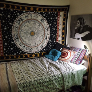 Indian Zodiac Tapestry Wall Hanging Mandala Hippie  Bedspread Throw Boho Cover