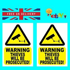 2  X Thieves will be Prosecuted Sticker Signs - Static Cling or Self Adhesive