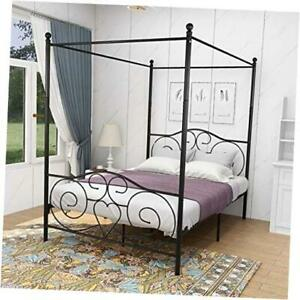 Size Metal Canopy Bed Frame with Headboard and Footboard Sturdy Full Black