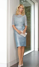 Condici 90365 Special Occasion Lace Detail Duck Egg Blue Silk Dress 14 New