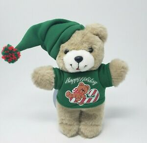 "9"" VINTAGE DAN DEE CHRISTMAS TEDDY BEAR W/ GREEN SHIRT STUFFED ANIMAL PLUSH TOY"