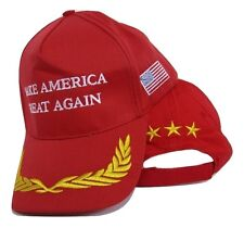 President Trump Make America Great Red 3 Star Feathers Embroidered Cap Hat (RUF)