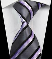 Hot! Classic Stripe Gray Black Purple JACQUARD WOVEN 100% Silk Men's Tie Necktie