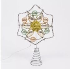 Retro Christmas Tree Topper Star Led Lighted White Bulbs Mercury Glass Tinsel