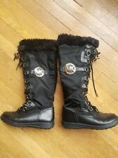 Michael Kors Size 5.5 Lace Up Zip Up Black Combat Boots Side Logo fur lined
