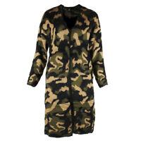 Very Moda Women's Long Sleeve Eyelash Knit Camouflage Open Cardigan Camo S-M