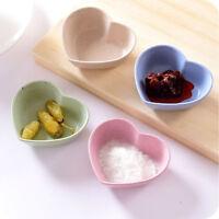 4pcs/Set Wheat Straw Love Heart Shaped Small Plate Food Snack Dish Sauce Plate