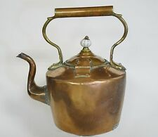 LARGE ANTIQUE REGENCY COPPER KETTLE BRASS INSERT AND LATCH LID PORCELAIN FINIAL