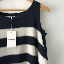 Country Road off Shoulder Tunic Navy Jumper Size XL