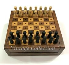 Handmade Wooden Mini Chess Board Game ~ Travel Vintage Chess Set Wooden Box