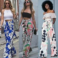 Women Loose Floral Harem Wide Flared Leg Pants Ladies Long Palazzo Trousers 6-14