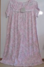 NWT ARIA LONG NIGHTGOWN-SZ 1X-SHORT SLEEVE-IVORY/PINK/GRAY PRINT-$54-BEAUTIFUL!