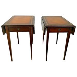 Vintage Pembroke Table set by Carolina Panel Co Gold embossed Leather Mahogany
