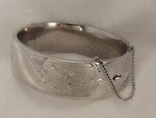 Vintage Sterling Silver Hinged Etched Flowers Wide Bangle Bracelet 34.2g