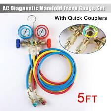 R12 R22 R134a R502 Manifold Gauge Set 5ft Hose Ac Adapter Refrigeration Hvac