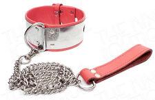 NEW Adult BDSM Bondage Metal and Faux Leather Slave  Neck Collar Chain Leash