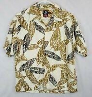 Vtg Quiksilver Rayon Hawaiian Aloha Shirt Sz S M Floral Palm Trees USA Made