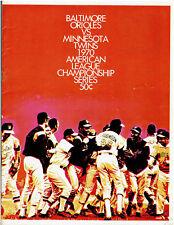 1970 ALCS Game 3 Baseball  Program Minnesota Twins vs. Baltimore Orioles Scored