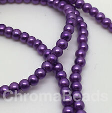 3mm Glass Faux Pearls strand - Purple (230+ beads) jewellery making, craft