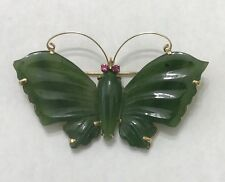 14k Solid Yellow Gold Carved Butterfly Jade Ruby Brooch/Pin 12.9 Grams