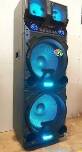 "New Very Big Bluetooth Speaker - 2 x 15"" - Portable - 2 Wireless Mics Loud Bass"