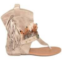 Indianini donna estivi beige infradito alla caviglia freschi con piume e frange