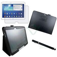 Pellicola+Pennino+Custodia pelle NERO Stand per Samsung Galaxy Tab 3 10.1 P5200