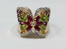 Large Gemstone Butterfly 14k Gold Ladies Ring Size 8.25 (missing some diamonds)
