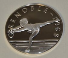 GRENOBLE 1968 PEGGY FLEMING - HISTORY OF THE OLYMPIC GAMES .925 SILVER, RARE