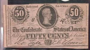 1864 Confederate States 50c Note