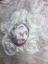 CHRISTMAS Hummingbird Locket Antique Silver Necklace Porcelain Mom Aunt Grandma