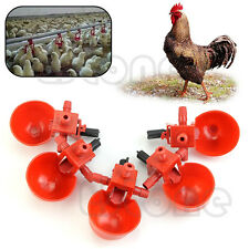 5pcs Bird Chicken Fowl Drinker Coop Feed Automatic Poultry Water Drinking Cups