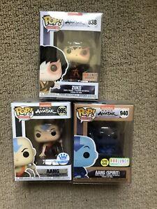 Funko Pop! Avatar The Last Airbender Lot of 3x Zuko, Aang, Spirit Aang Exclusive
