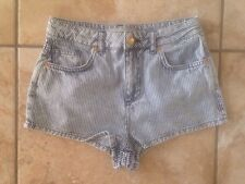 MOTO @ TOPSHOP STRIPED BLUE DENIM JEANS SHORTS 8 W26 Free UK P&P