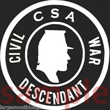 "CONFEDERATE CSA CIVIL WAR DESCENDANT WINDOW DECAL 3.5"" FREE CONFEDERATE STICKER"