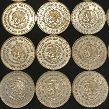 20 LARGE SILVER MEXICO UN PESO 1957-1967 COINS  - JOSE MORELOS  #97d2