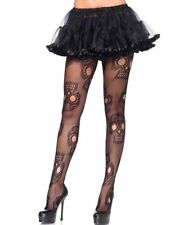 Leg Avenue 9982X PLUS SIZE Halloween Sugar Skull Black Fish Net Pantyhose 1x2x