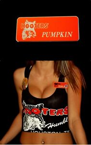 Hooters Uniform Pumpkin Name Tag Pin Back Dress Up Role Play Costume Accessory