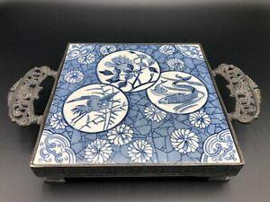 Vintage Toronto S.P Company Quadruple Plate, Blue & White Tile Ceramic Trivet