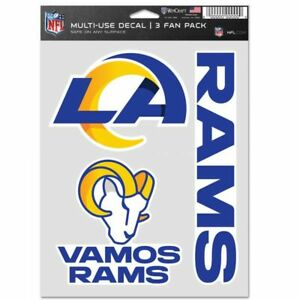 LOS ANGELES RAMS 3 PIECE MULTI-USE DECAL FAN PACK NFL LICENSED