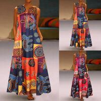 Nicegfy1 Sundress Print Maxi Tank Long Dress Sleeveless Women Floral Summer