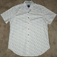 Robert Graham Button Down Shirt Mens Med White Classic Fit Short Sleeve Casual
