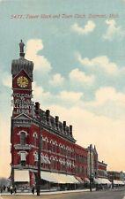 H26/ Saginaw Michigan Postcard c1910 Tower Block Town Clock Pillsbury Flour