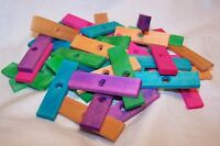 """40 Wood Blocks 2"""" X 1/2"""" X 3/16"""" Colored Wooden Parrot Bird Toy Parts W/1/4""""Hole"""